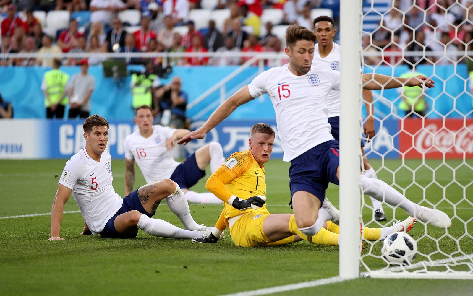 Gary Cahill clears the ball off the goal line against Belgium for England at 2018 Russia World Cup