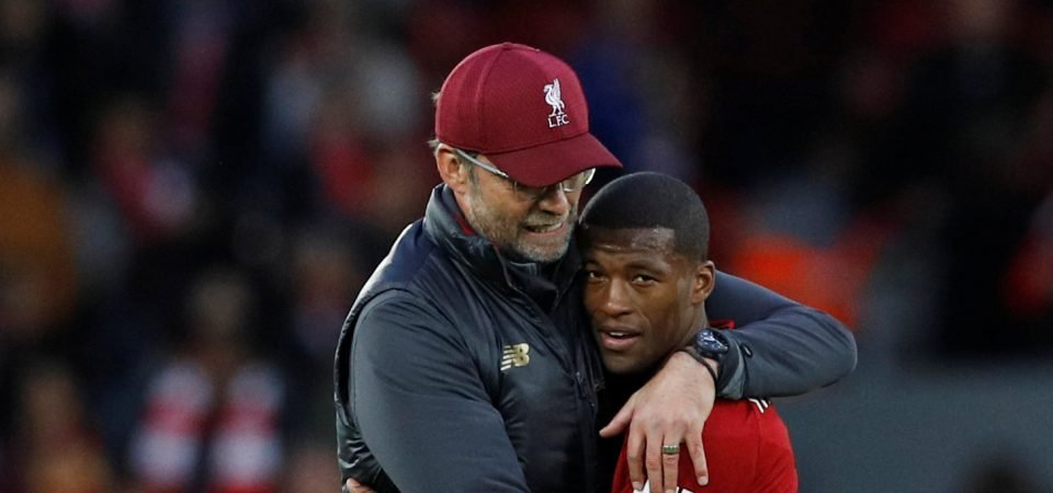 Liverpool fans heap praise on Wijnaldum before Arsenal clash