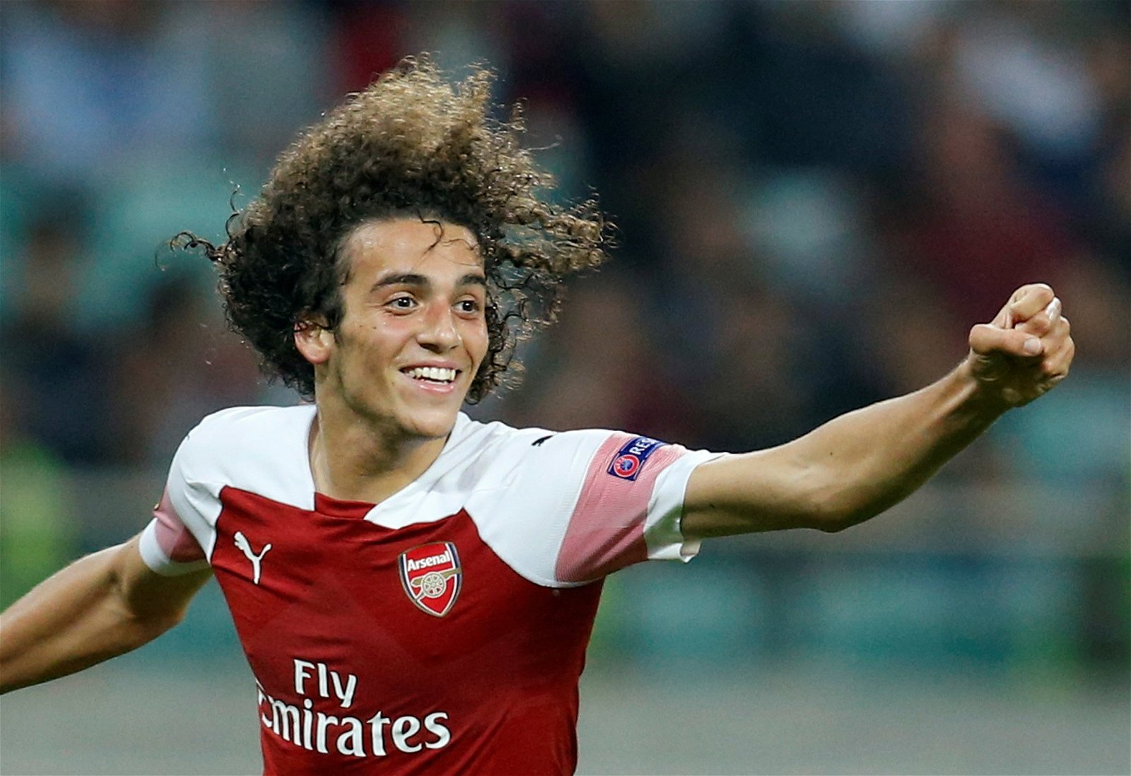 Mateo Guendouzi celebrates for Arsenal