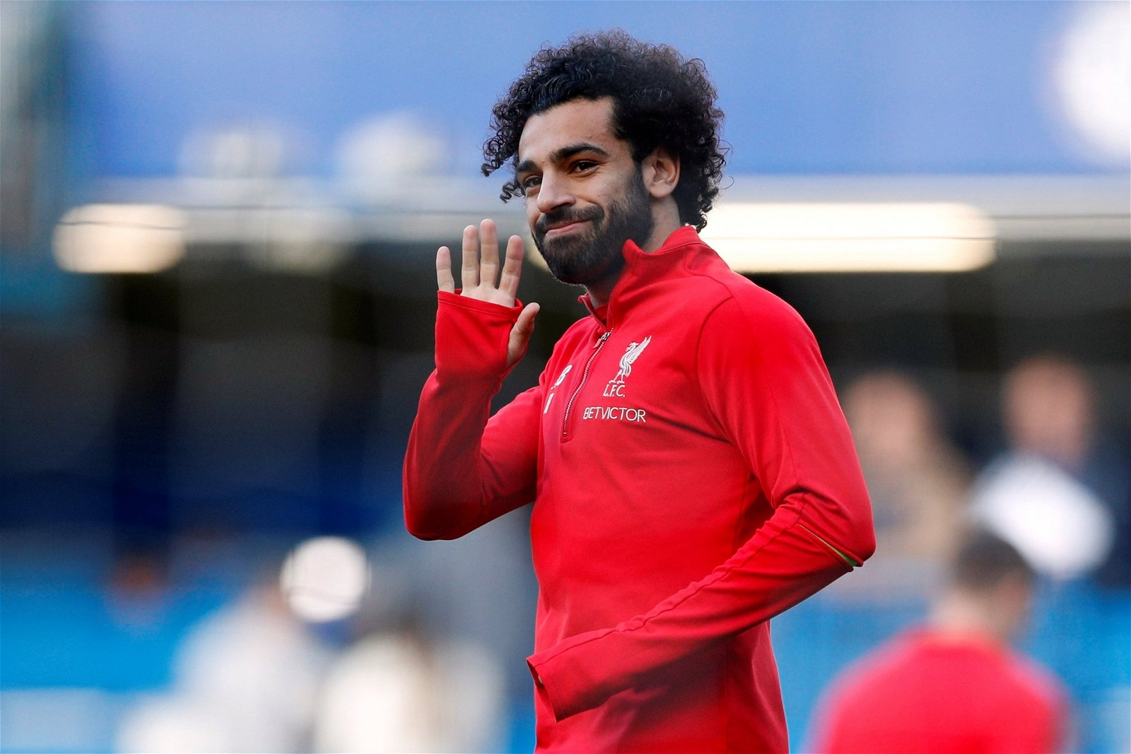 Mohamed Salah warms up for Chelsea clash