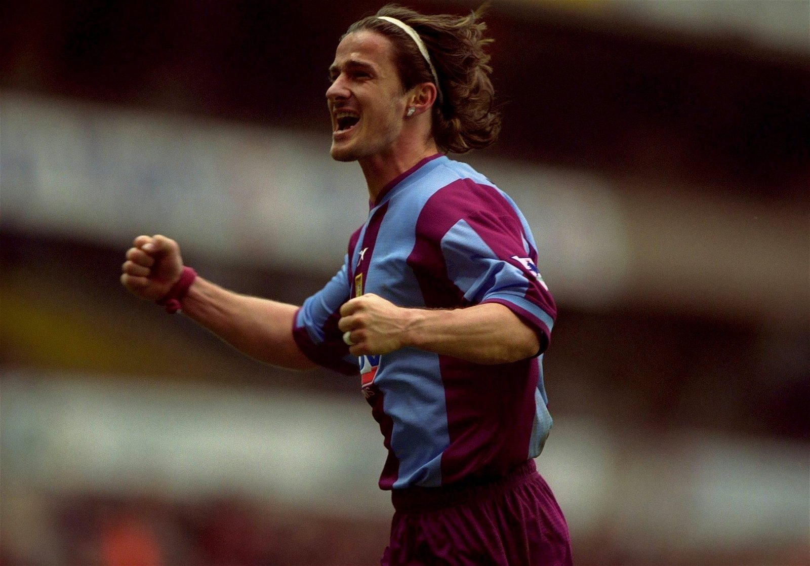 Benito Carbone celebrates scoring for Aston Villa
