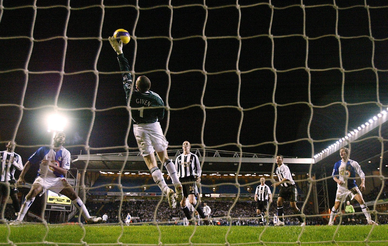 Shay Given of Newcastle makes a save against Blackburn Rovers 2006/07