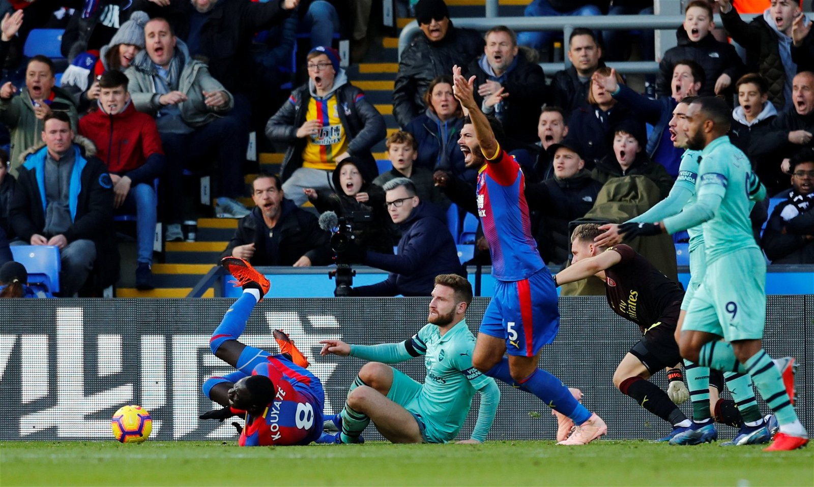 Crystal Palace awarded a penalty after Crystal Palace's Cheikhou Kouyate brought down by Arsenal's Shkodran Mustafi