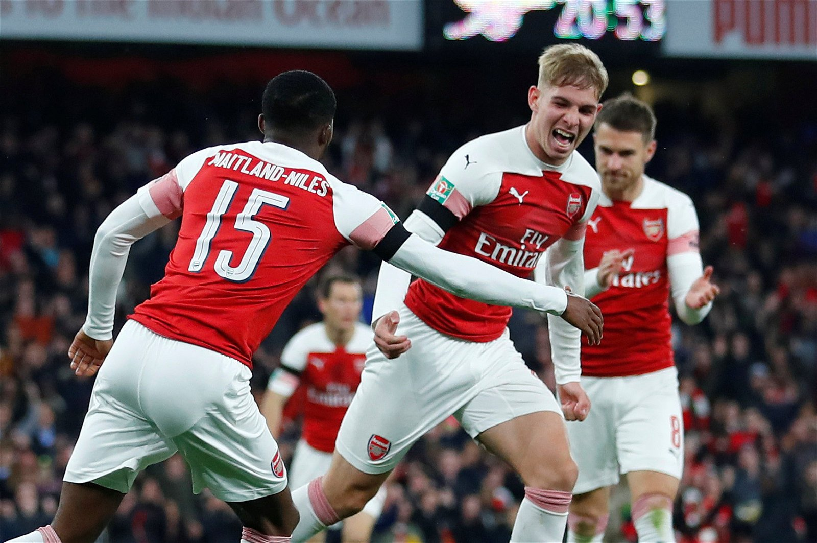 Emile Smith-Rowe celebrates first Emirates goal (Arsenal v Blackpool)