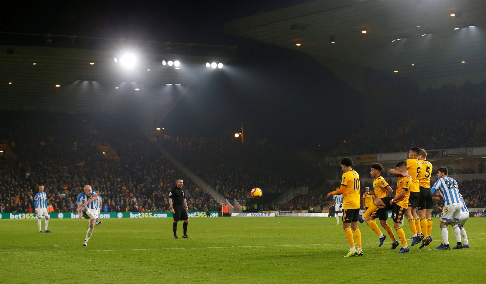 Huddersfield Town's Aaron Mooy scores their second goal v Wolverhampton Wanderers