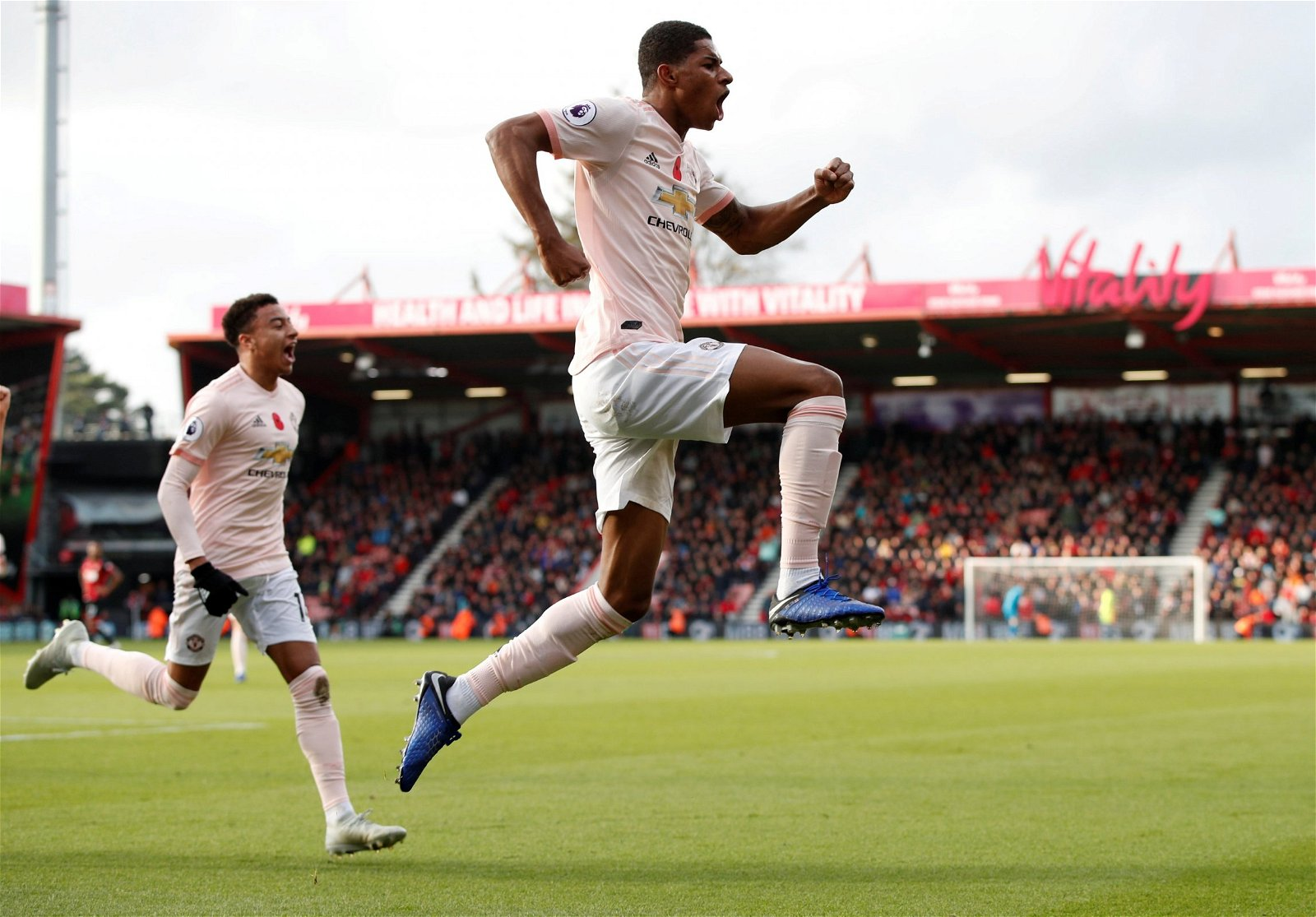 Marcus Rashford celebrates scoring against Bournemouth