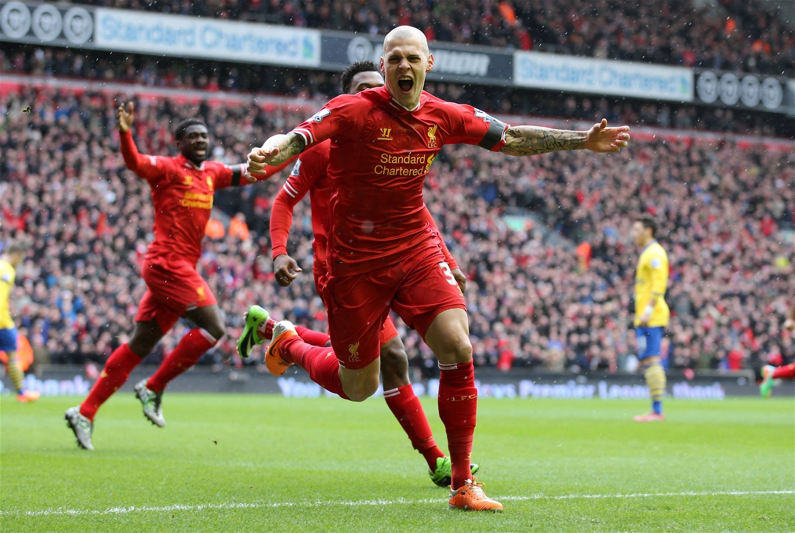Martin Skrtel celebrates for Liverpool