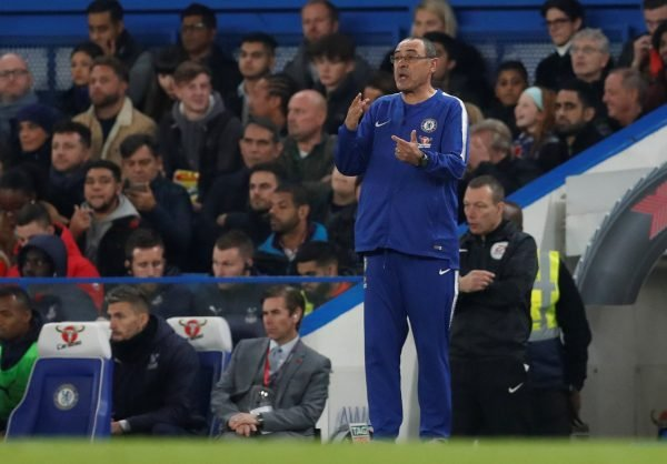 Maurizio Sarri shouts instructions during Chelsea v Crystal Palace