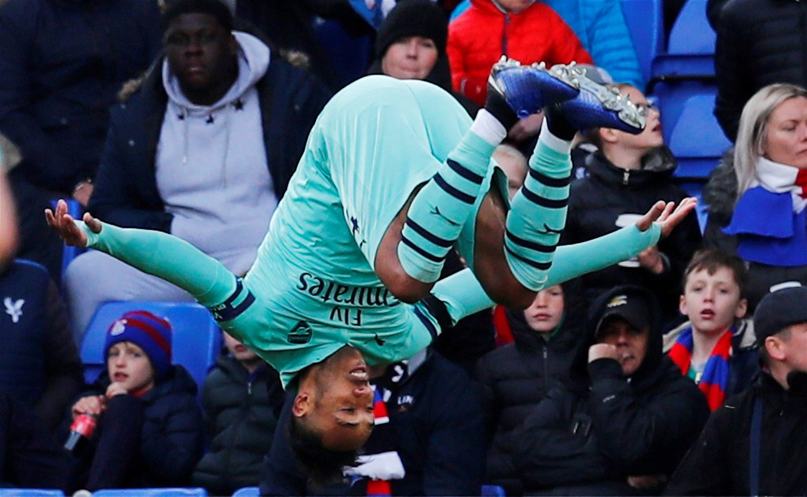Pierre-Emerick Aubameyang celebrates v Crystal Palace