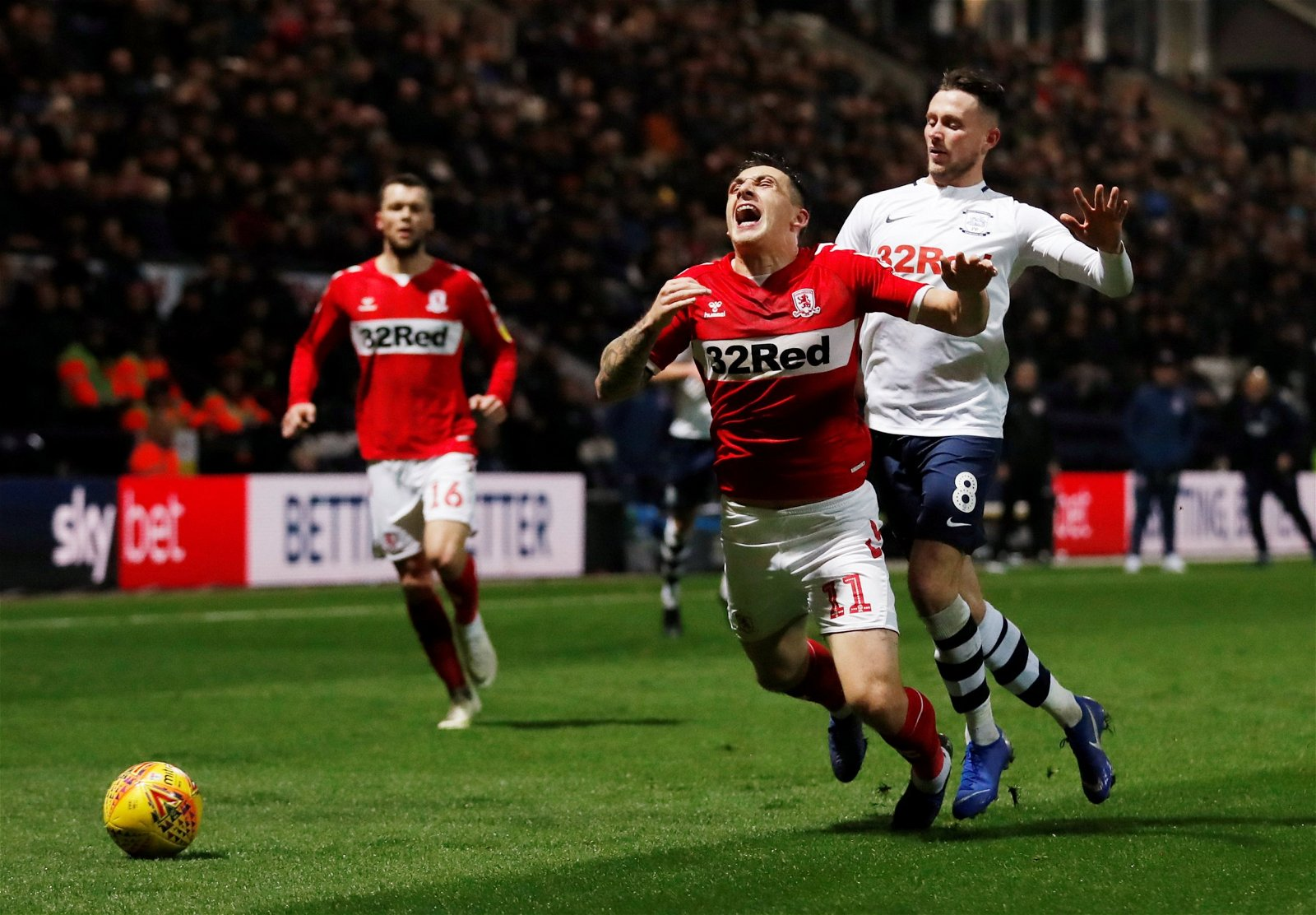 Preston North End's Alan Browne in action with Middlesbrough's Jordan Hugill