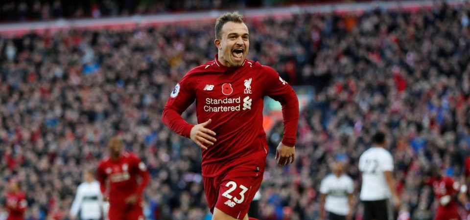 Liverpool fans want Jurgen Klopp to keep playing Xherdan Shaqiri after Sunday display