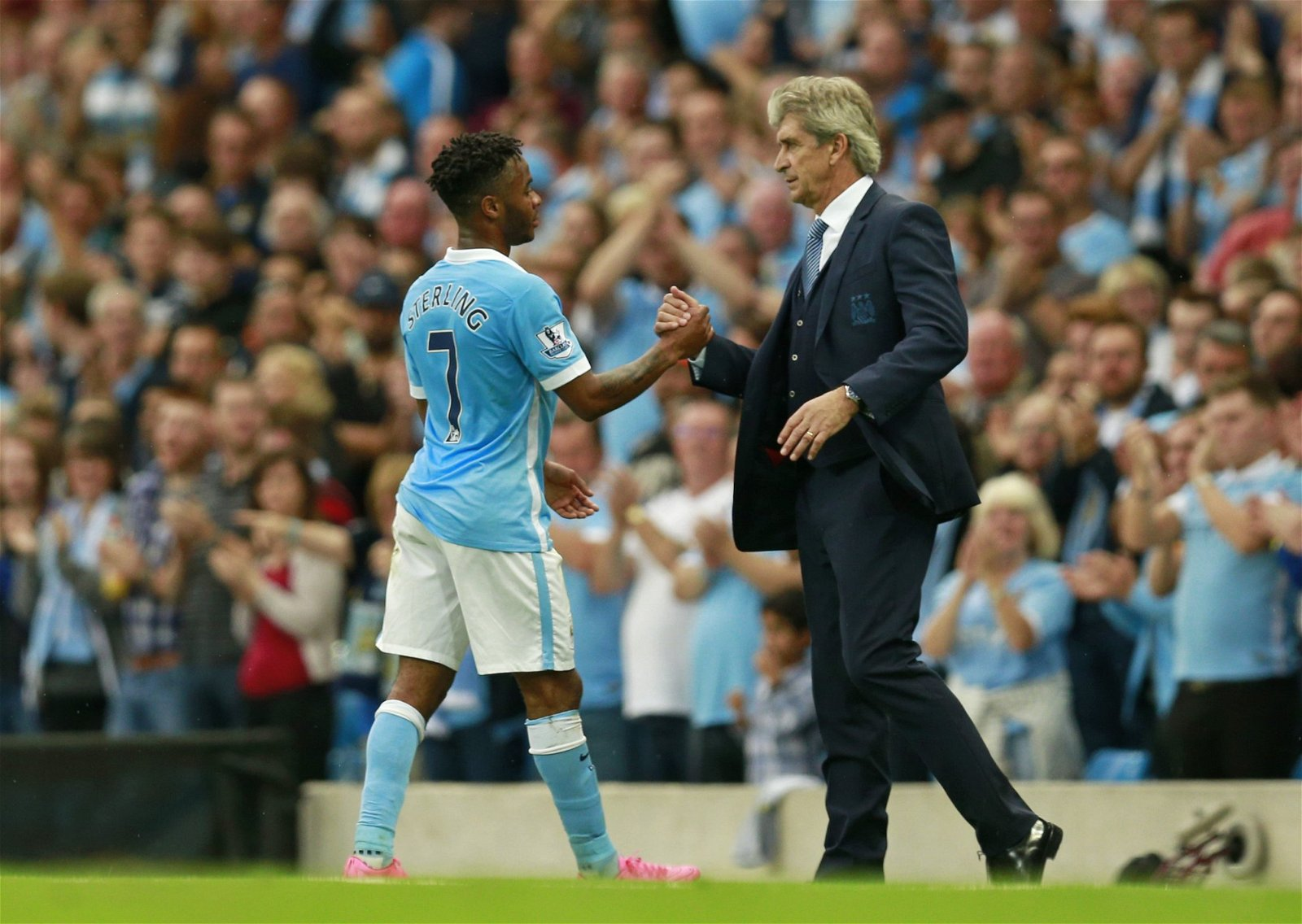 Manuel Pellegrini with Raheem Sterling at Manchester City