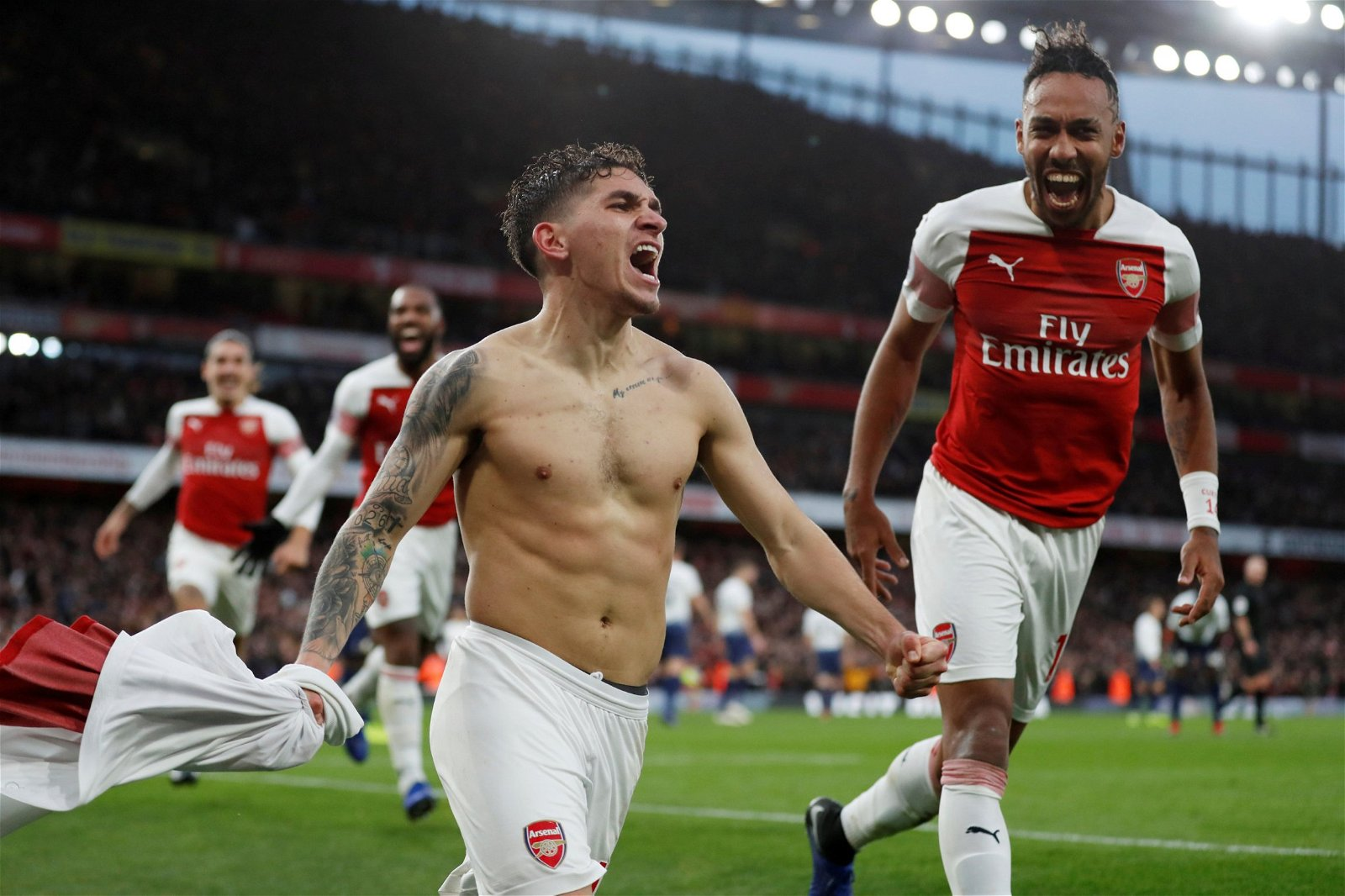 Arsenal's Lucas Torreira celebrates scoring their fourth goal vs Tottenham