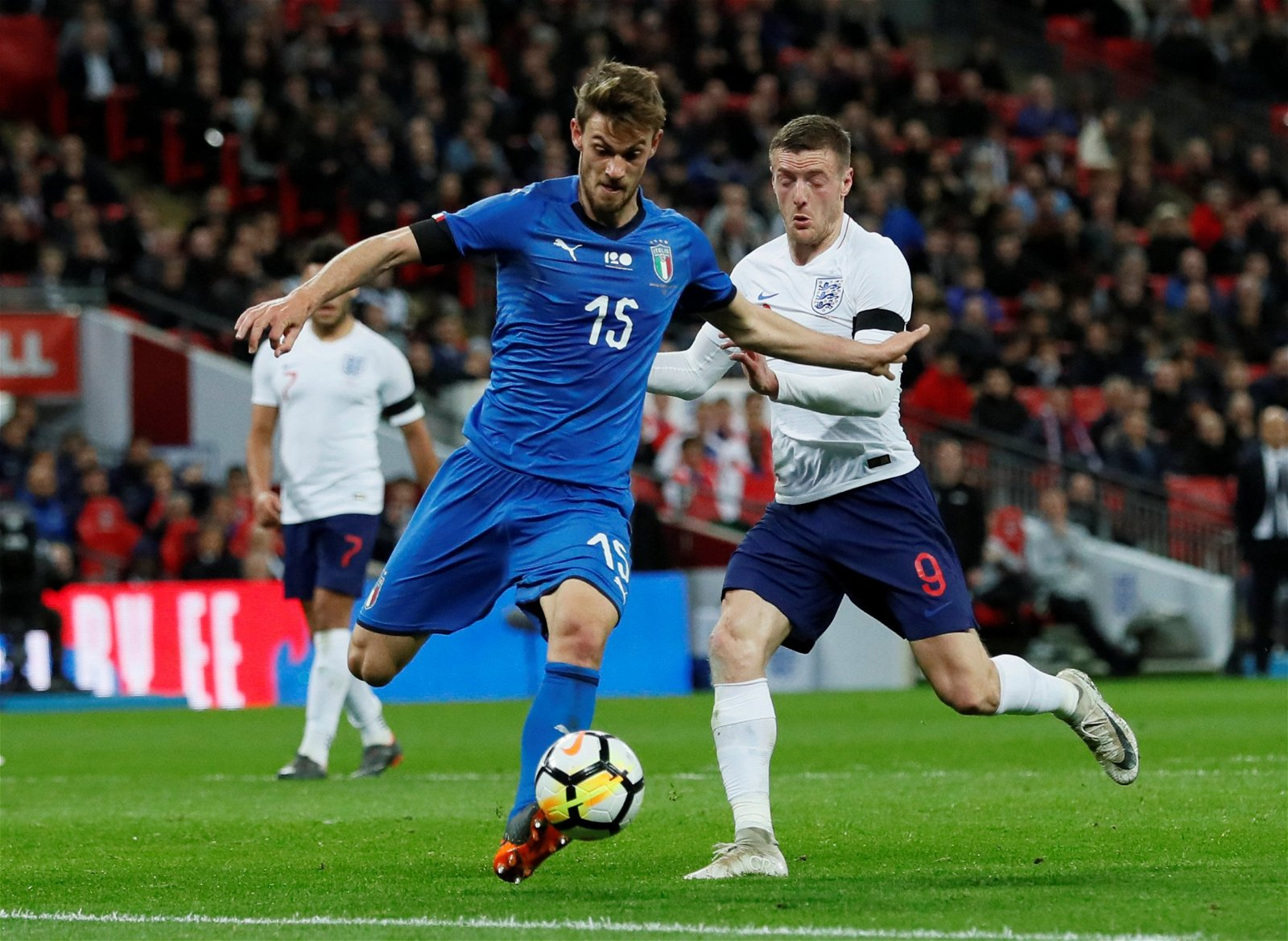 Daniele Rugani in action for Italy