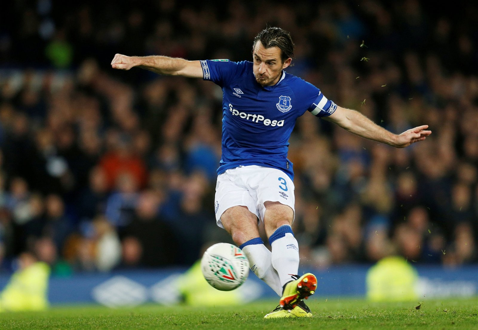 Everton's Leighton Baines scores a penalty during the cup shootout with Southampton