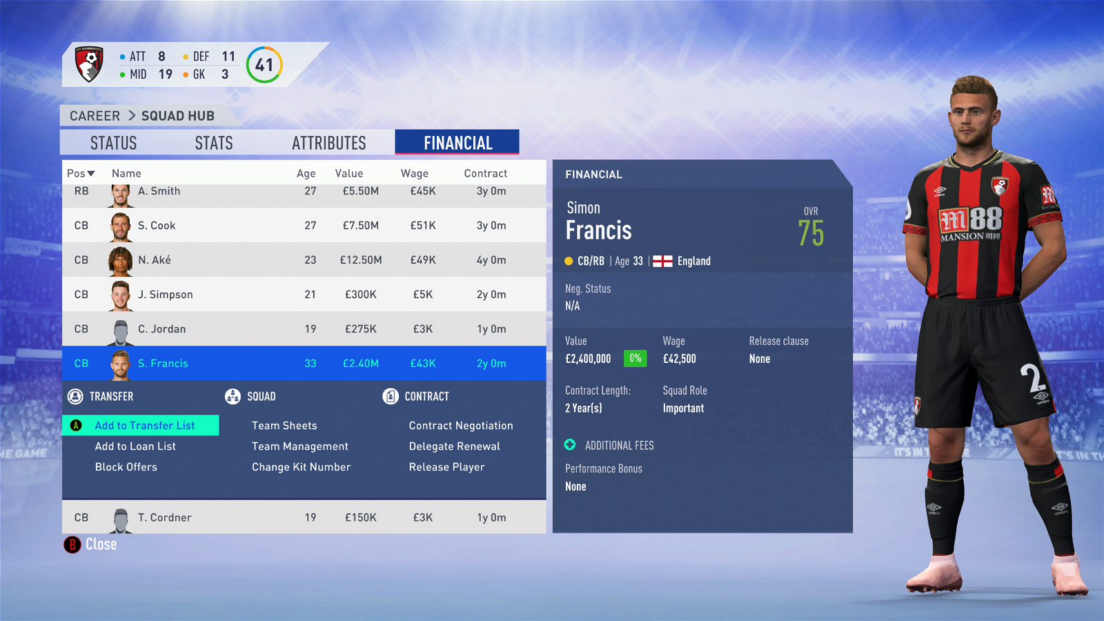 FIFA 19 Career Mode - Bournemouth Francis