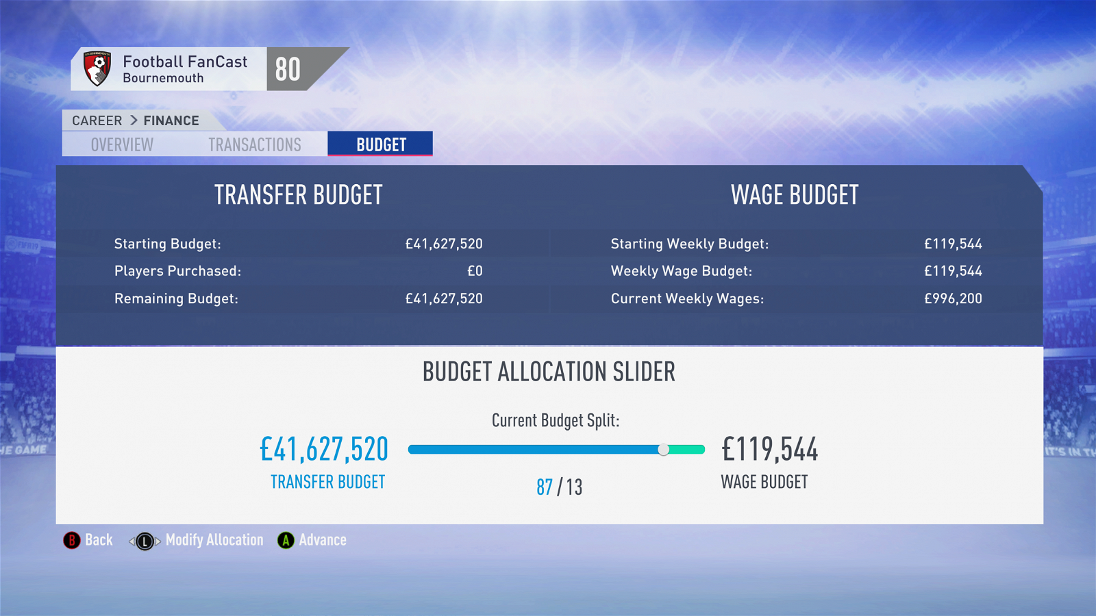 FIFA 19 Career Mode - Bournemouth budget