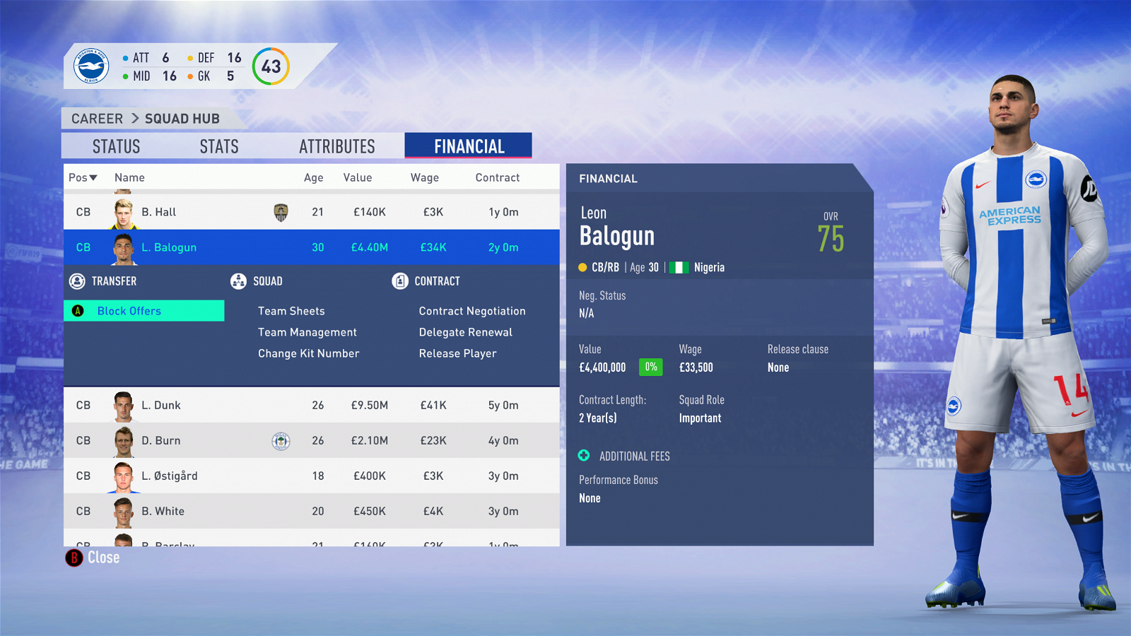 FIFA 19 Career Mode - Brighton Balogun