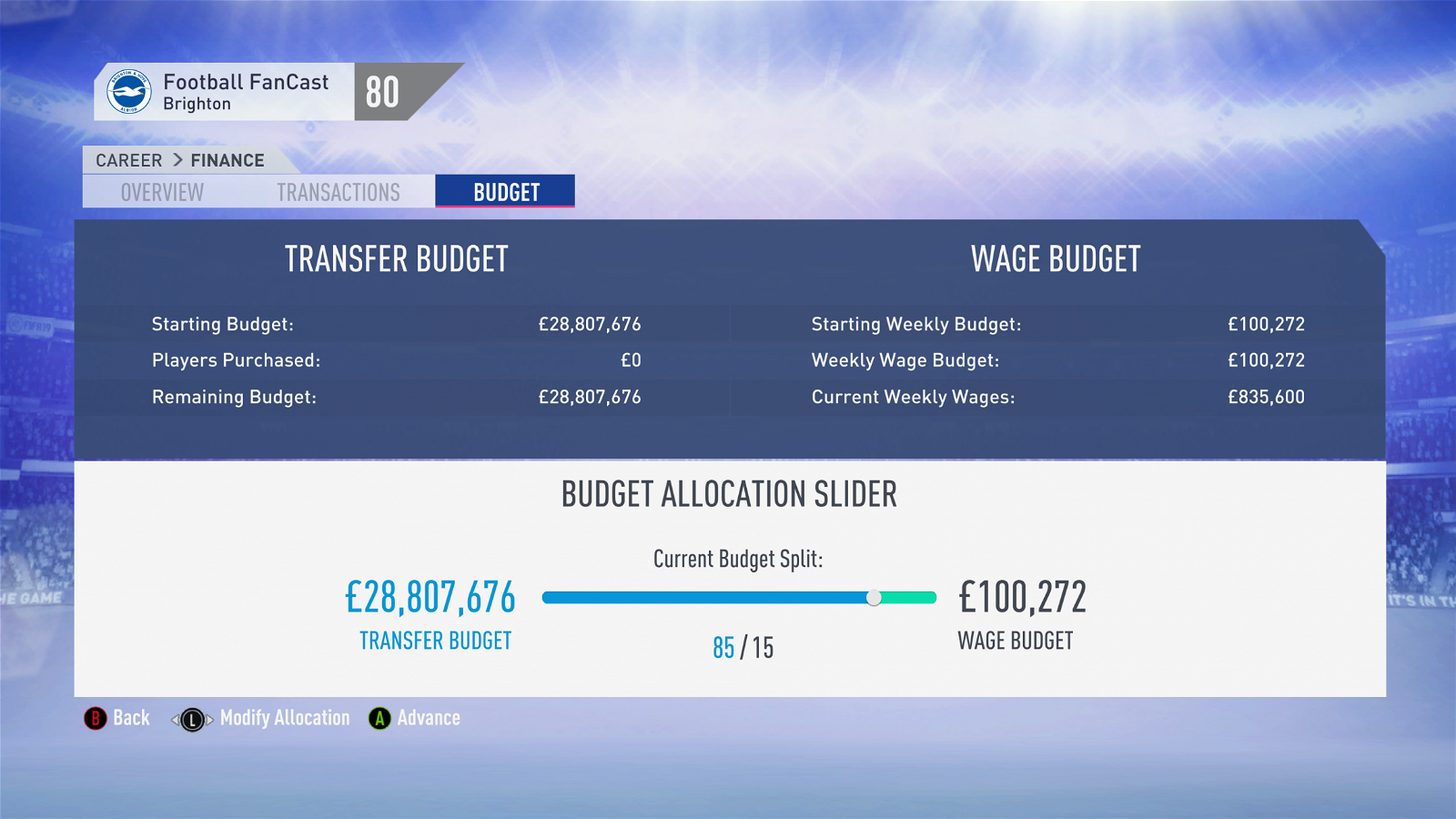 FIFA 19 Career Mode - Brighton Budget