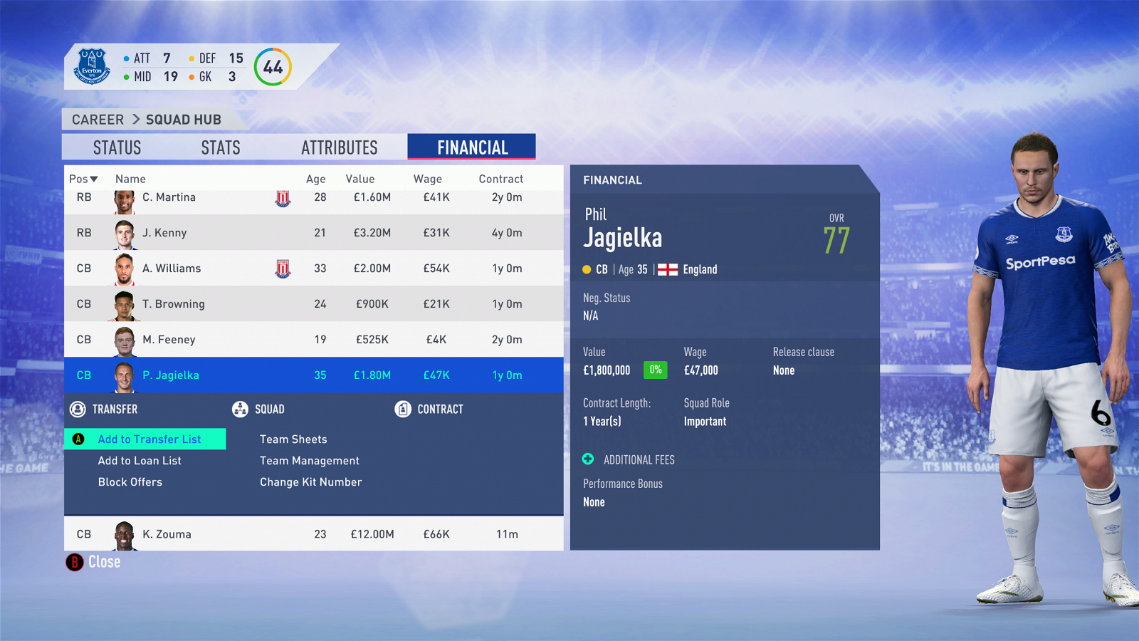 FIFA 19 Career Mode - Everton Jagielka
