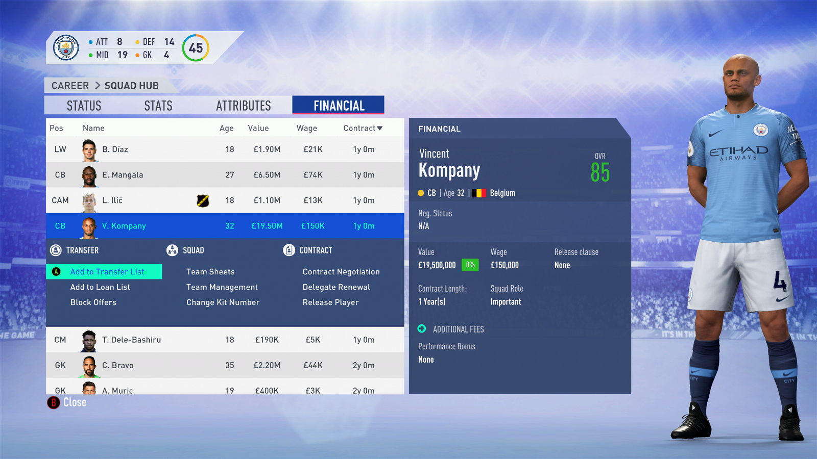 FIFA 19 Career Mode - Man City Kompany