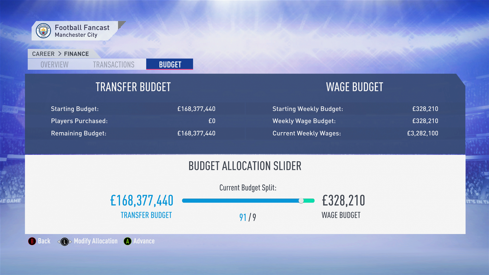 FIFA 19 Career Mode - Man City budget