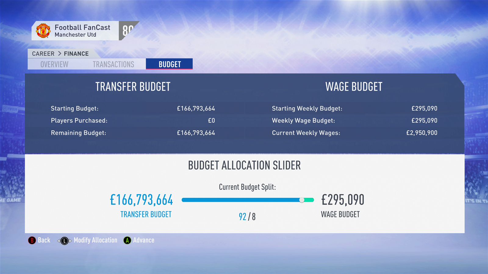 FIFA 19 Career Mode - Manchester United budget