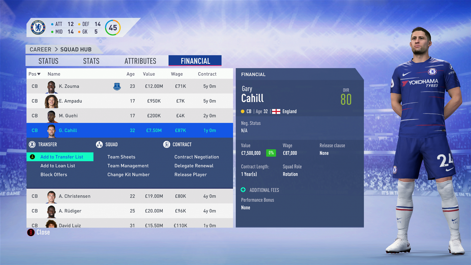 FIFA 19 - Chelsea Career Mode - Gary Cahill