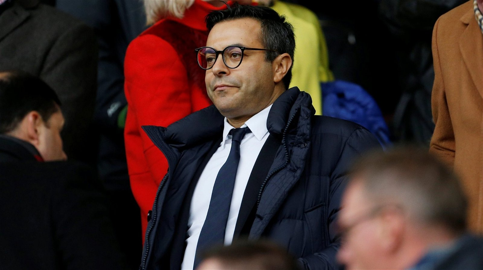 Leeds United chairman Andrea Radrizzani looks on from the stand as his club faces Sheffield United