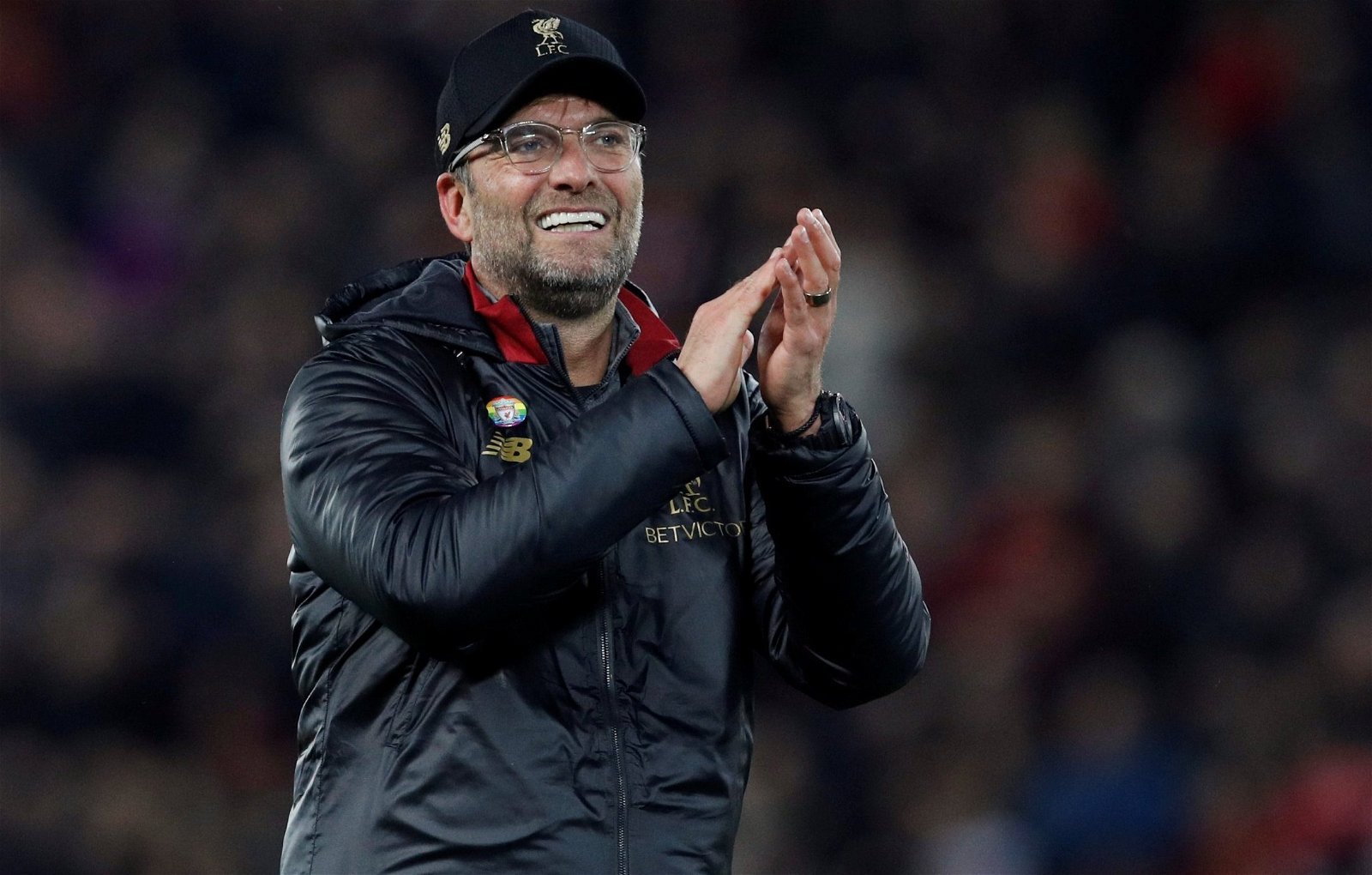 Liverpool manager Jurgen Klopp claps the fans after last-gasp Everton victory
