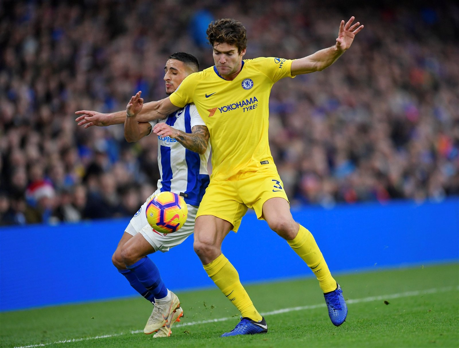 Marcos Alonso in action for Chelsea - Opinion: Sarri needs to fully trust rotation option who will help Hazard & Higuain thrive