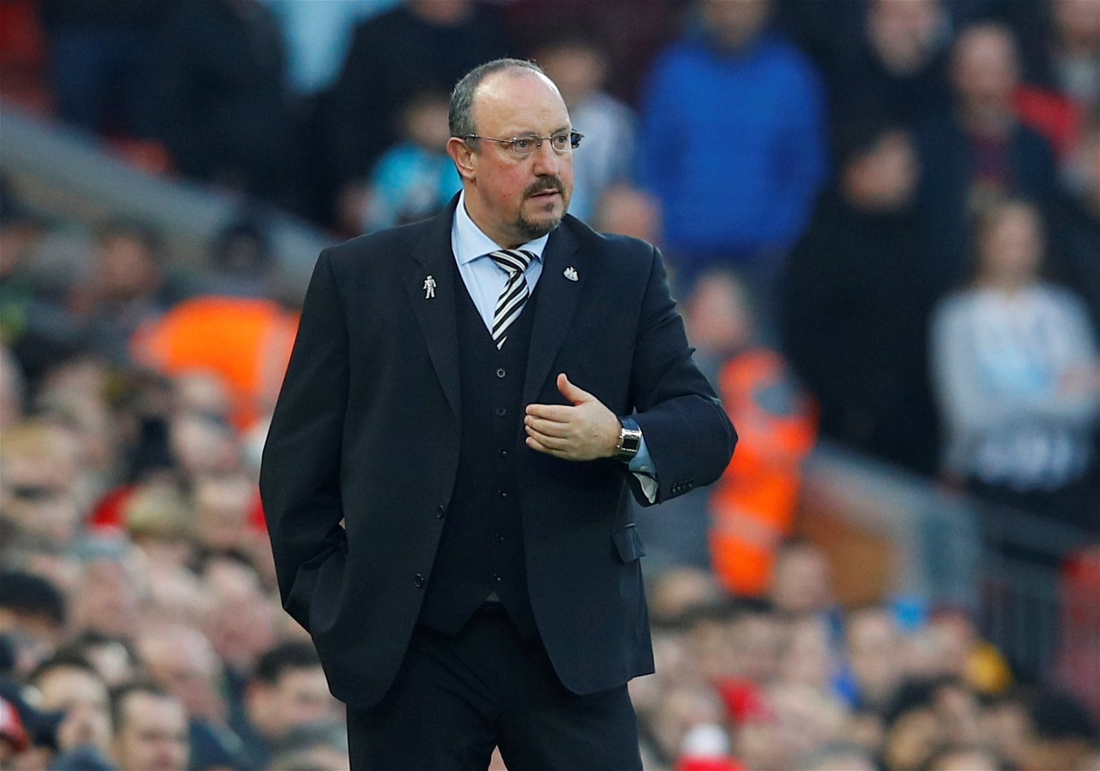 Rafael Benitez looks on at Anfield
