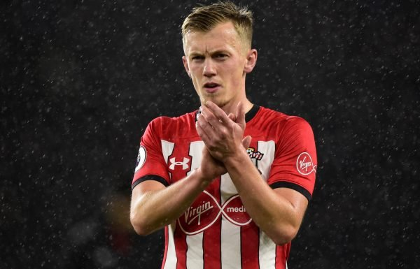 Southampton midfielder James Ward-Prowse applauds the fans after Cardiff City defeat