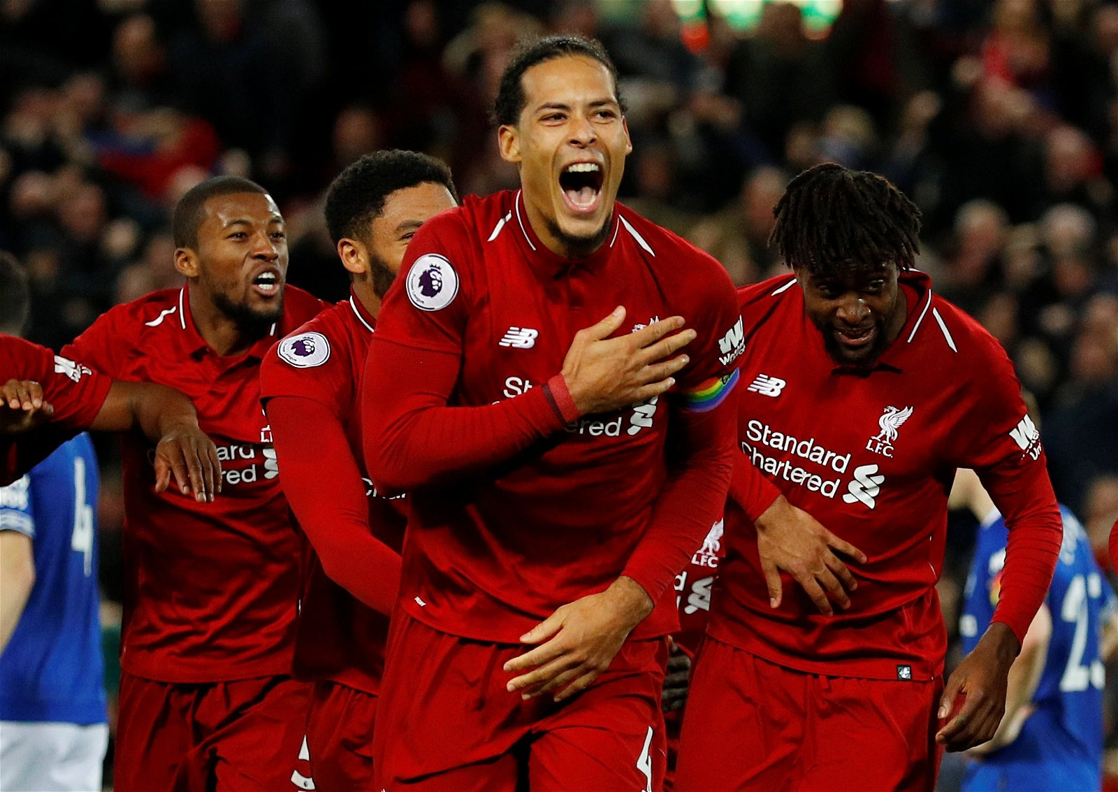 Van Dijk celebrates Origi's winner over Everton
