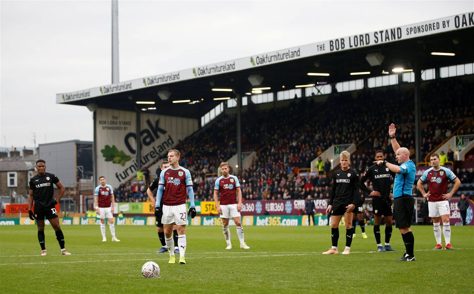 Burnley's Matej Vydra waits to take a penalty which is later overturned by VAR