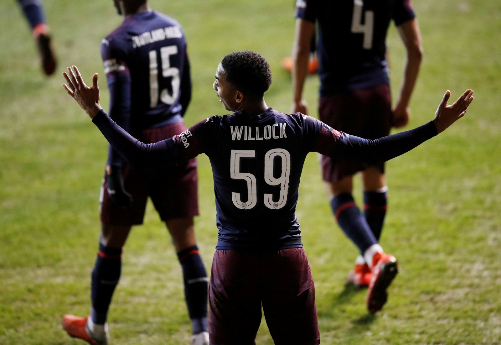 Joe Willock celebrates scoring against Blackpool
