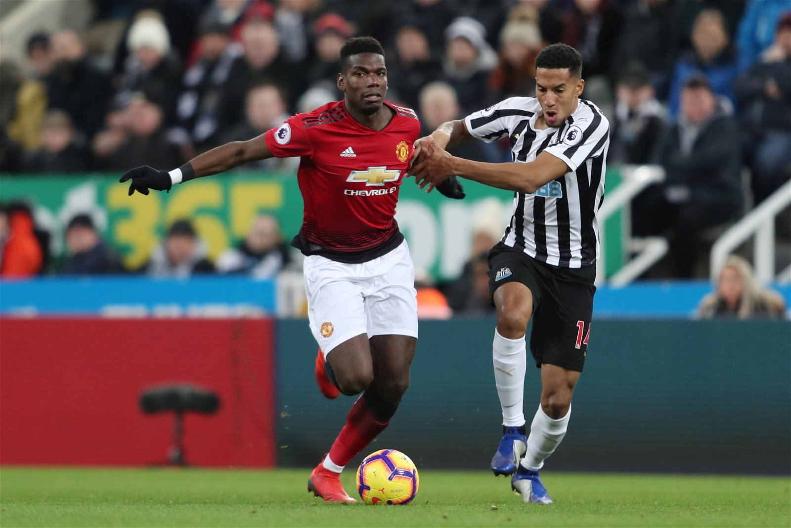 Manchester United's Paul Pogba in action with Newcastle United's Isaac Hayden