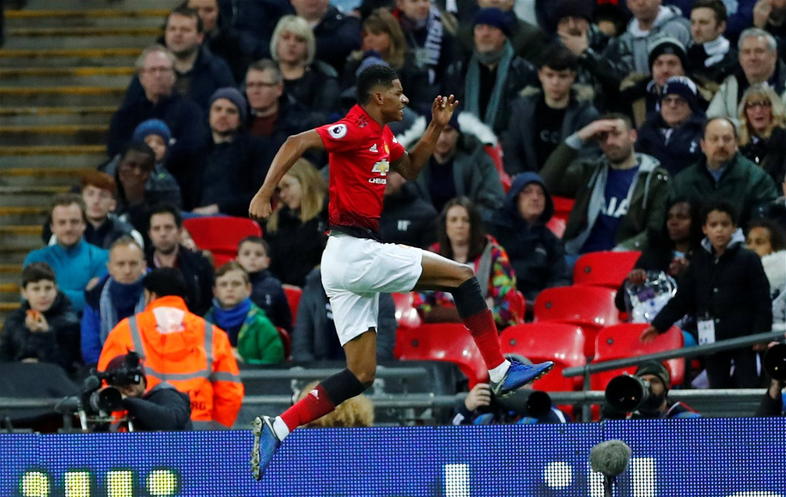 Marcus Rashford celebrates scoring against Tottenham - New role for Jose favourite, Title charge: Potential aftermath if Man Utd secure star's future