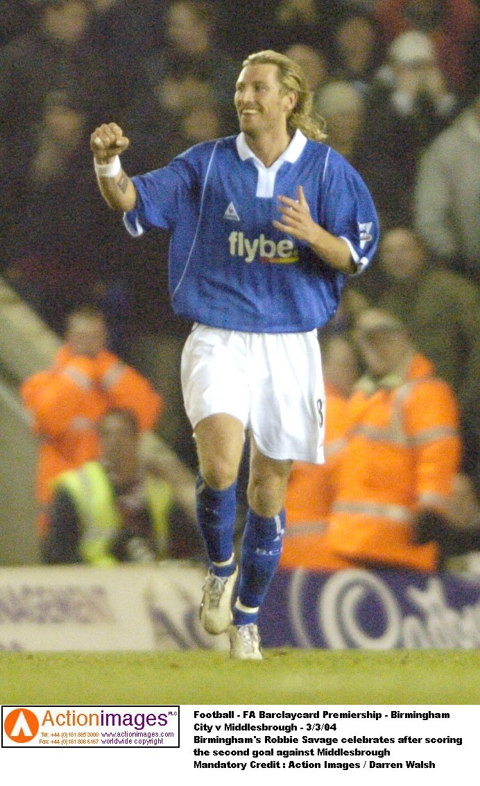 Birmingham's Robbie Savage celebrates after scoring the second goal against Middlesbrough