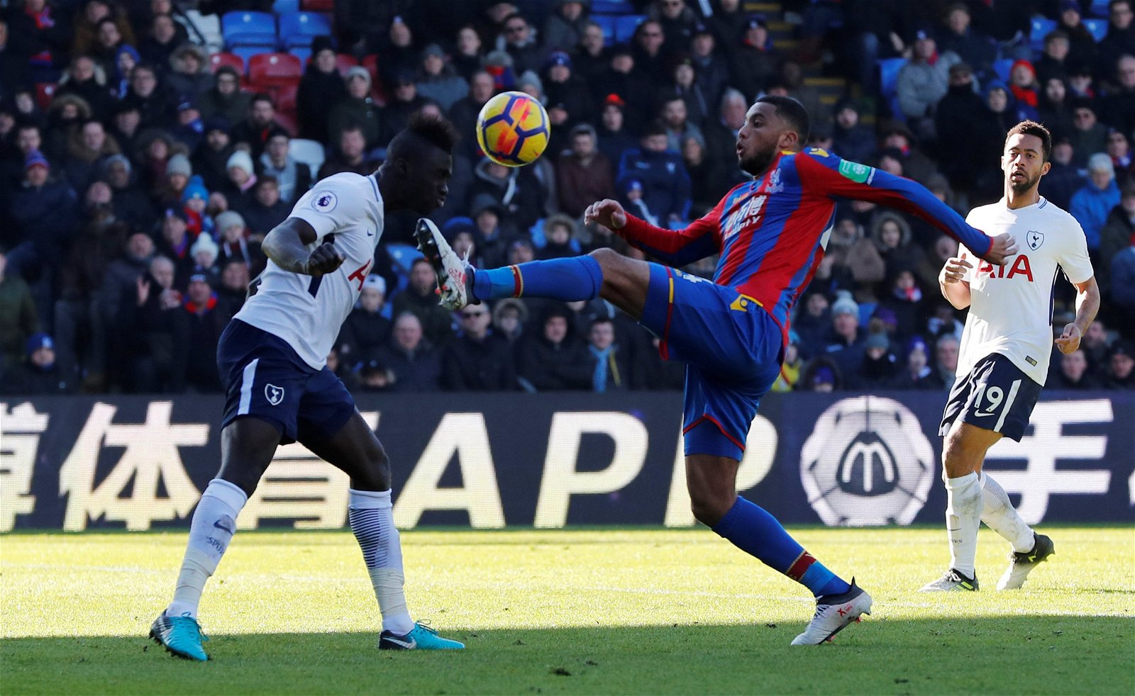 Tottenham's Davinson Sanchez in action with Crystal Palace's Jairo Riedewald - Vital cover found, career saved: Consequences of Tony Pulis potentially signing 22 y/o ace