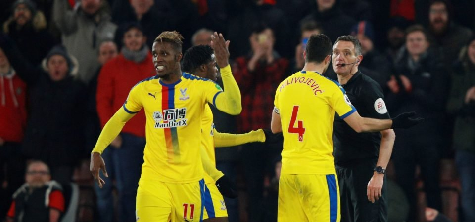 Crystal Palace fans react as Wilfried Zaha is handed a one-game ban by the FA