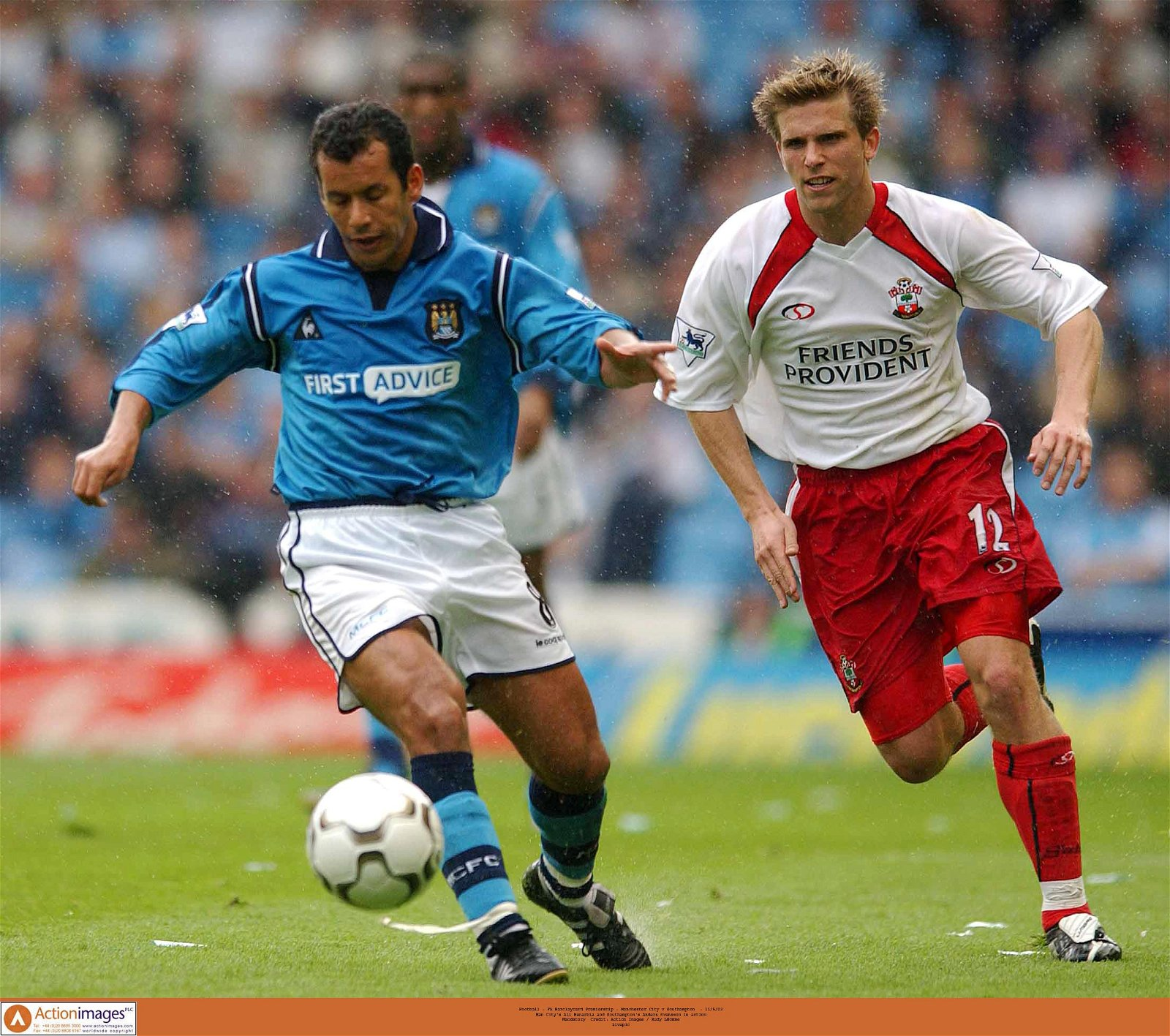 Man City's Ali Benarbia and Southampton's Anders Svensson in action