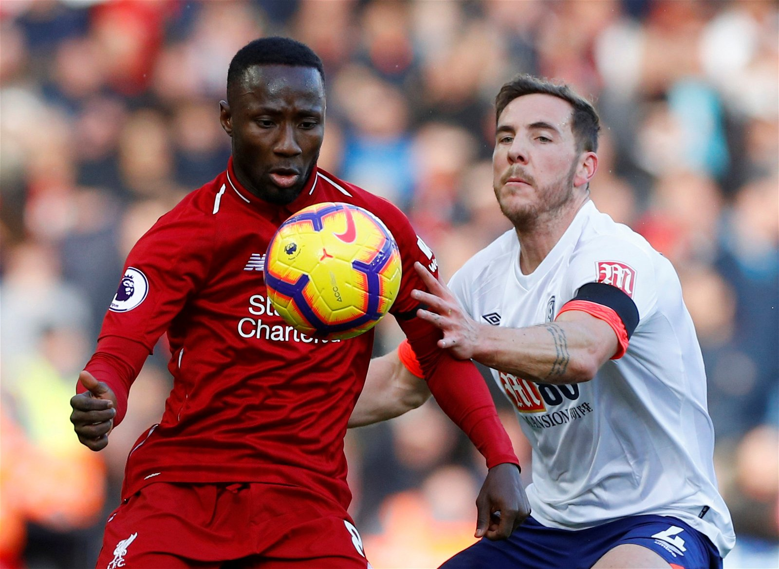 Keita in action against Bournemouth at Anfield