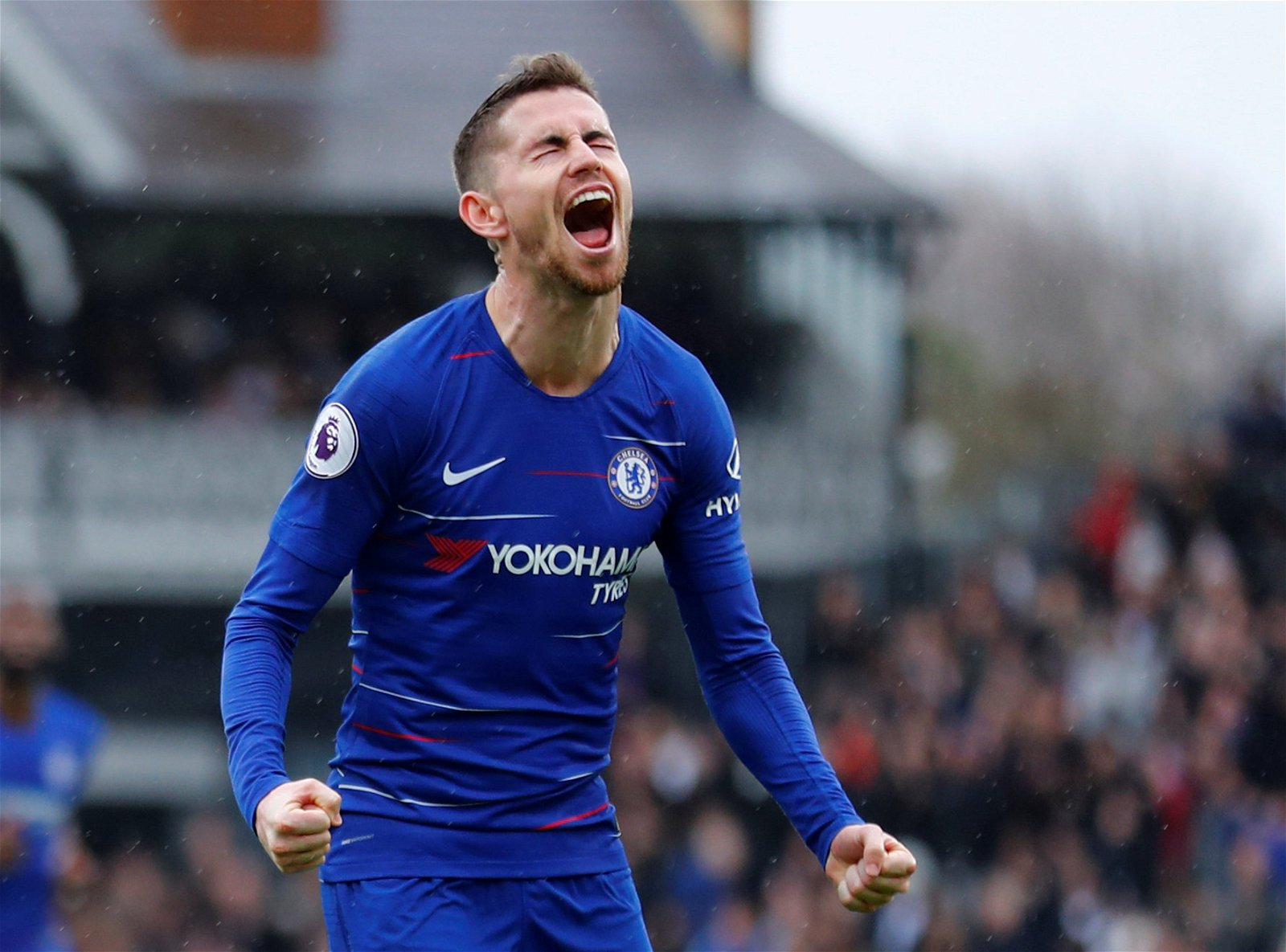 Jorginho celebrates scoring the winner for Chelsea against Fulham - How Sarri can improve Chelsea's midfield without spending a penny this summer - opinion
