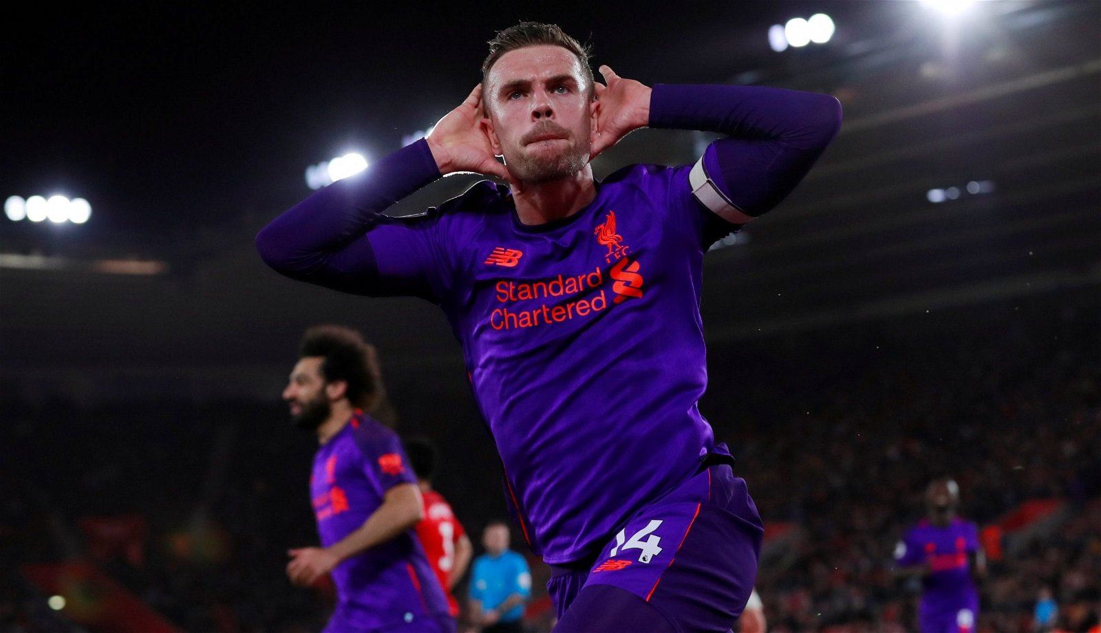 Jordan Henderson celebrates scoring for Liverpool