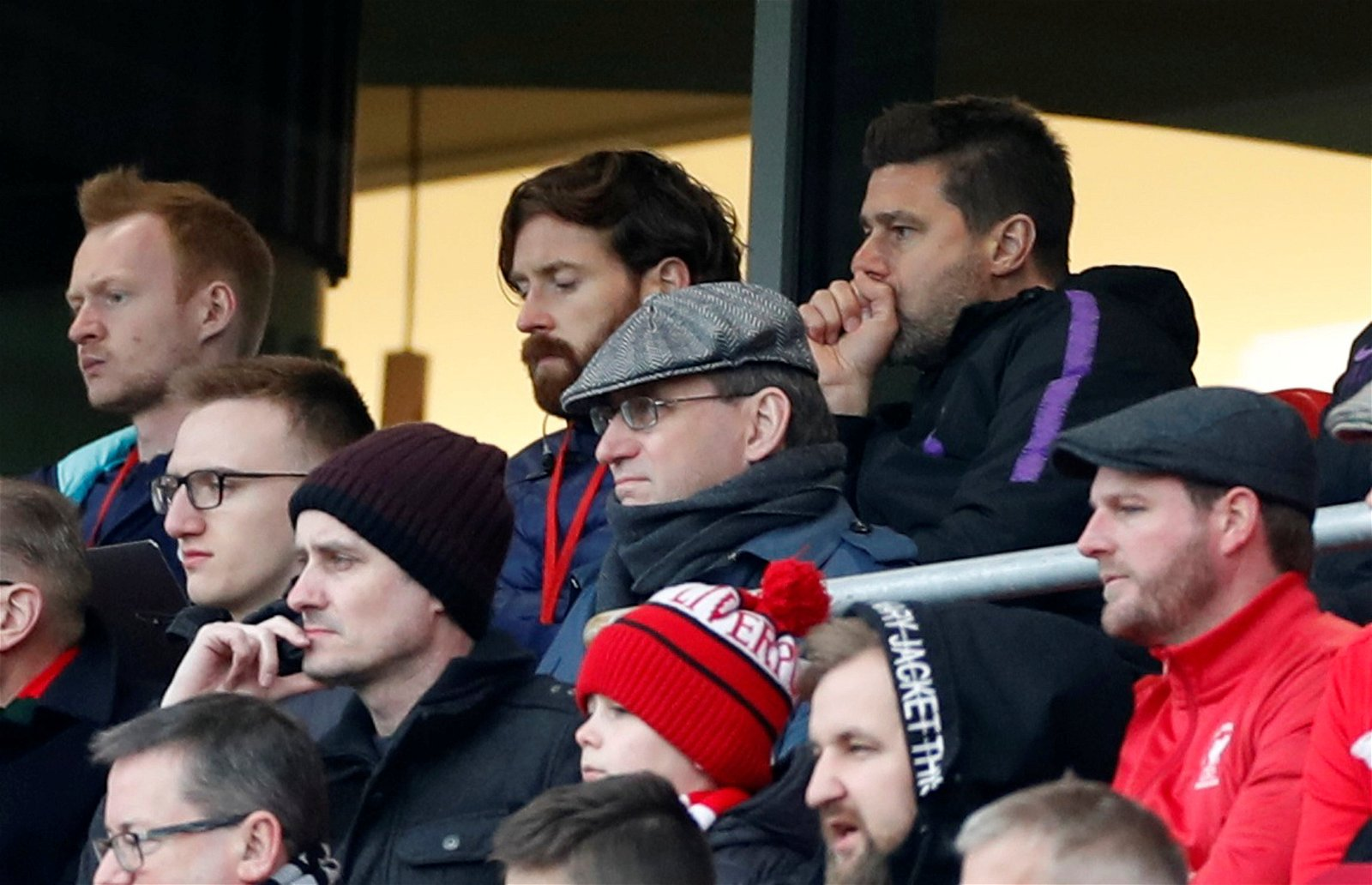 Tottenham manager Mauricio Pochettino looks on from the Anfield stands