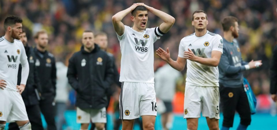 Image: Wolves striker Raul Jimenez looks emotional after FA Cup defeat