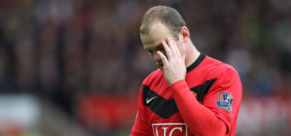 Manchester United fans react as Wayne Rooney scores from inside his own half