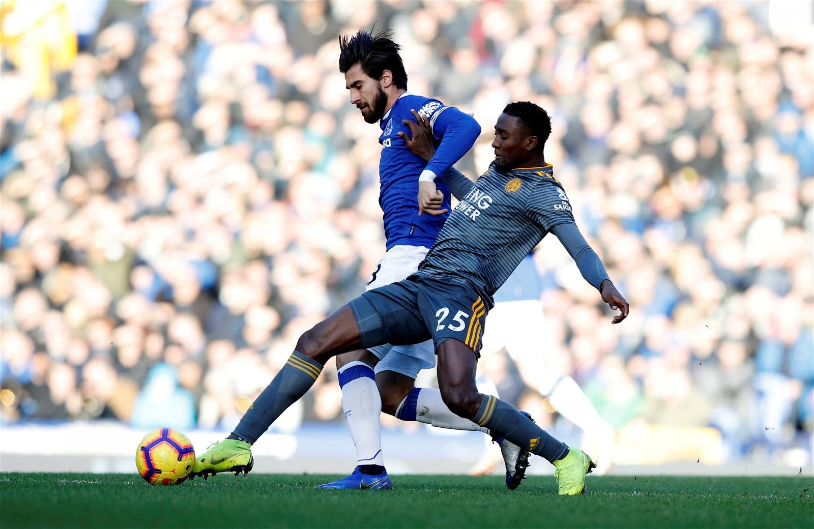 Andre Gomes goes head-to-head with Leicester City's Wilfred Ndidi during loan spell with Everton