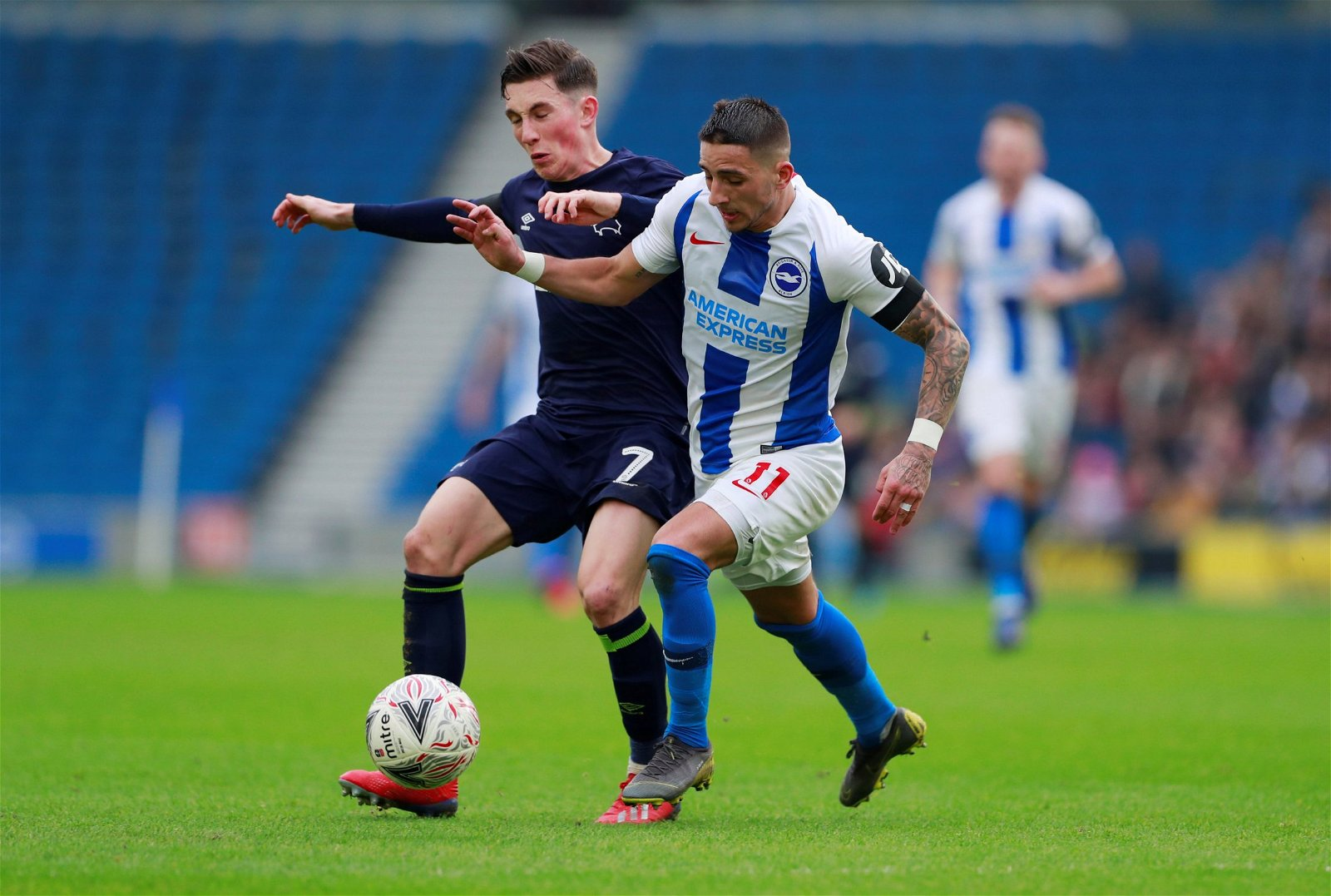 Derby County loanee Harry Wilson in action with Brightons Anthony Knockaert - [Image] - Big-money Brighton target battles with man he could replace in Potter's XI next season